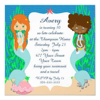 Two Mermaids Pool Party Card