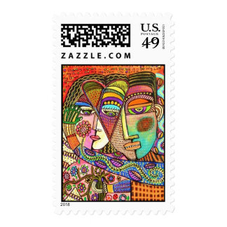 Two Mexican Women - Day Of The Dead Postage Stamp