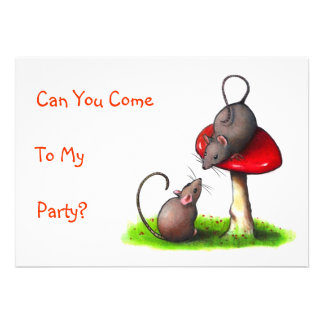 Two Mice and a Toadstool Color Pencil Drawing Custom Announcements