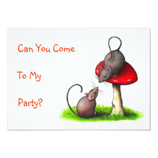 Two Mice and a Toadstool: Color Pencil Drawing 5x7 Paper Invitation Card