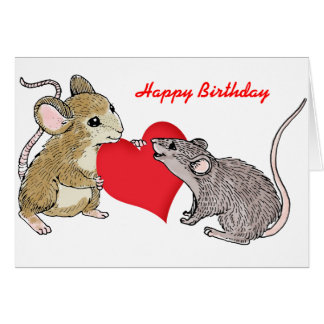 Two Mice in Love Birthday Greeting Cards