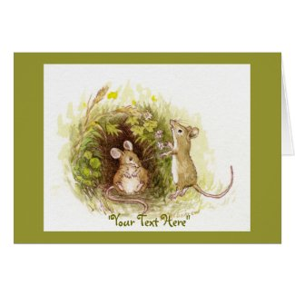 Two Mice in the Grass - children's illustration Greeting Cards