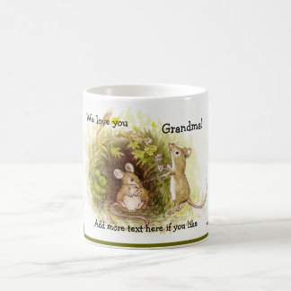 Two Mice in the Grass - children's illustration Classic White Coffee Mug