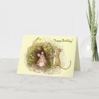 Two Mice in the Grass - Happy Birthday Card