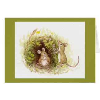 Two Mice in the Grass-picture inside too! Greeting Card