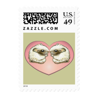 Two mice kissing postage stamp