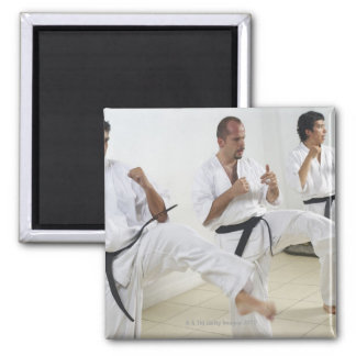 Two mid adult men with a young man practicing 2 inch square magnet