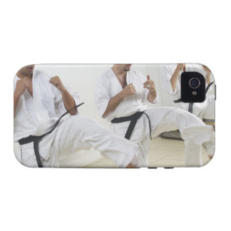 Two mid adult men with a young man practicing vibe iPhone 4 case
