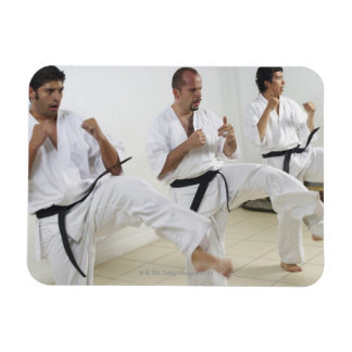Two mid adult men with a young man practicing rectangular photo magnet