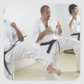Two mid adult men with a young man practicing square sticker