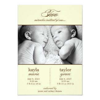 Two Miracles Twins Birth Announcement - Cream