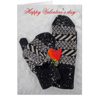 Two mittens in love Happy Valentine's day card