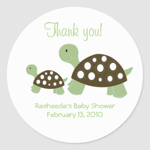 Two Mod Green Dot Turtles Favor Stickers