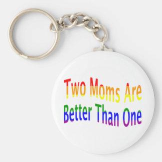 Two Moms Better (rainbow) Basic Round Button Keychain
