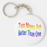 Two Moms Better (rainbow) Keychain