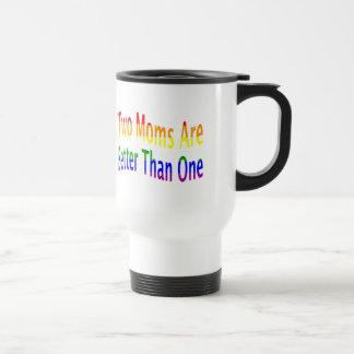 Two Moms Better (rainbow) Travel Mug