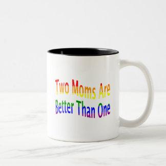 Two Moms Better (rainbow) Two-Tone Coffee Mug