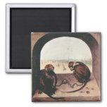 Two monkeys by Pieter Bruegel Fridge Magnet