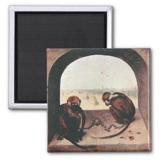 Two monkeys by Pieter Bruegel Magnet