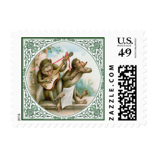 Two Monkeys Playing Music Postage Stamp