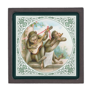 Two Monkeys Playing Songs - Victorian Animal Art Premium Jewelry Boxes