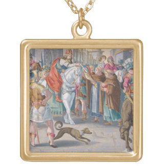 Two Monks Present Silkworms Smuggled from China to Square Pendant Necklace