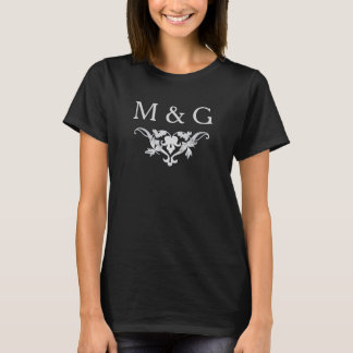 Two Monograms with Scrollwork and Leaves A02 T-Shirt