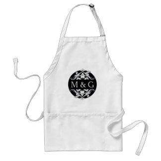 Two Monograms with Scrollwork and Leaves A09 Adult Apron