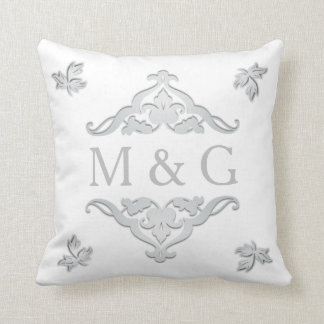 Two Monograms with Scrollwork and Leaves A24 Pillow