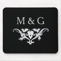 Two Monograms with Scrollwork and Leaves A33 Mouse Pad