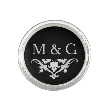 Bride Themed Two Monograms with Scrollwork and Leaves A36 Photo Rings