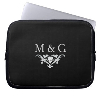 Two Monograms with Scrollwork and Leaves A38 Laptop Sleeve