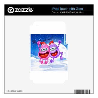 Two monsters celebrating christmas iPod touch 4G decals
