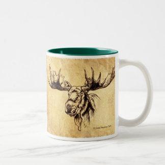 Two Moose Sepia Drawing Two-Tone Coffee Mug