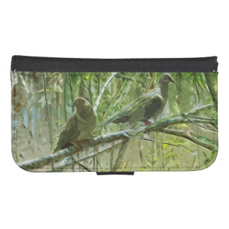 Two Morning Doves Abstract Galaxy S4 Wallet