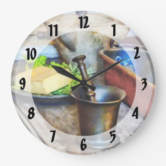 Two Mortar and Pestles in Kitchen Wall Clocks