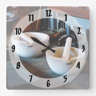 Two Mortars and Pestles in Lab Square Wallclock
