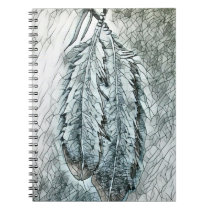 Two Mosaic Eagle Feathers Notebook