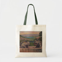 Two Mountain chipmunks on Tree Stump Nuts Tote Bag