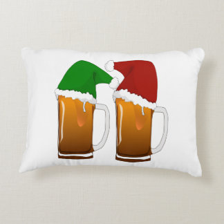 Two Mugs of Christmas Beer Cheer Decorative Pillow