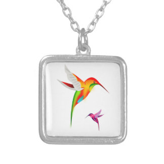 Two Multicolored Humming Birds in Flight Necklace