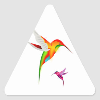 Two Multicolored Humming Birds in Flight Sticker