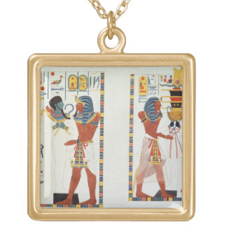 Two Murals from the Tombs of the Kings of Thebes, Gold Plated Necklace