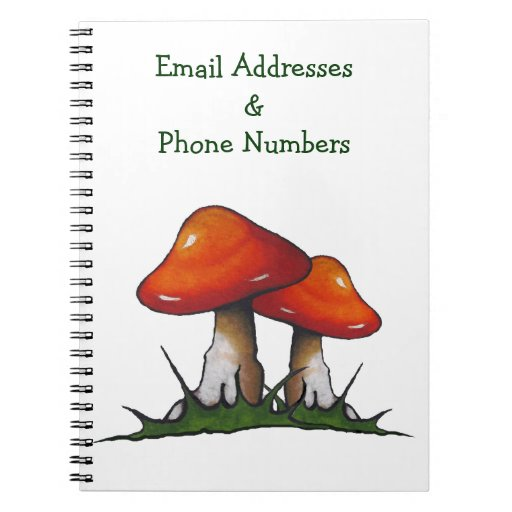 Two Mushrooms: Email, Phone Numbers: Art Spiral Note Books