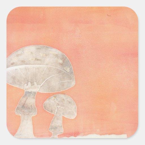 Two Mushrooms Square Sticker