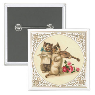 Two Musical Anthropomorphic Kittens 2 Inch Square Button