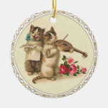 Two Musical Kittens Sing and Play Violin Double-Sided Ceramic Round Christmas Ornament