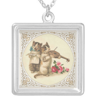 Two Musical Kittens Sing and Play Violin Square Pendant Necklace