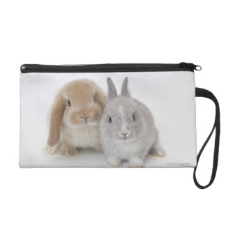 Two Netherland Dwarf and Holland Lop bunnies Wristlet Purses