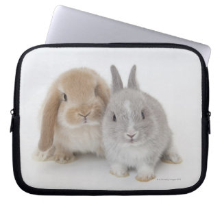 Two Netherland Dwarf and Holland Lop bunnies Computer Sleeve